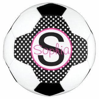 Bola De Futebol Rosa e preto, conhecido e inicial com bolinhas