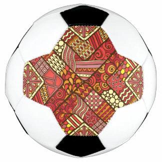 Bola De Futebol Teste padrão asteca tribal abstrato do vermelho