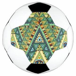 Bola De Futebol Teste padrão étnico do boho amarelo verde