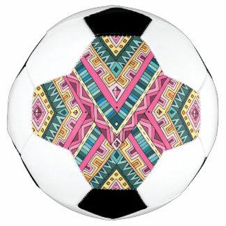 Bola De Futebol Teste padrão tribal abstrato colorido brilhante de