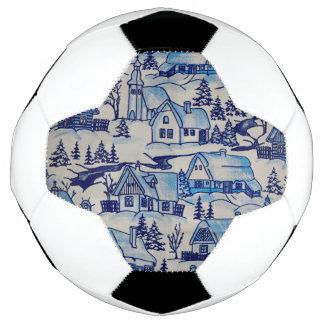 Bola De Futebol Vila azul do feriado do Natal do vintage