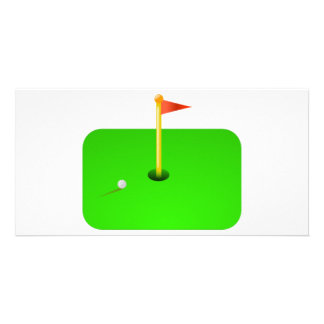 Bola de golfe e bandeira do golfe cartão com foto