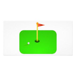 Bola de golfe e bandeira do golfe cartões com fotos