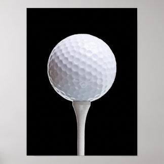 Bola de golfe & T no preto - modelo personalizado Pôster