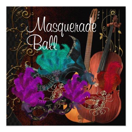 Bola de mascarada dos instrumentos musicais das má convites personalizado