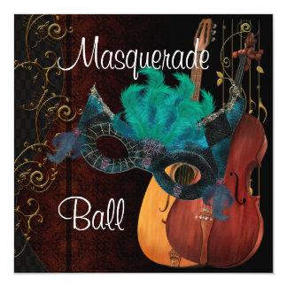 Bola de mascarada Inv dos instrumentos musicais da Convite Quadrado 13.35 X 13.35cm