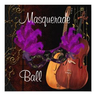 Bola de mascarada roxa dos instrumentos musicais convite quadrado 13.35 x 13.35cm