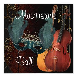 Bola de mascarada verde dos instrumentos musicais convite quadrado 13.35 x 13.35cm