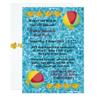 Bola de peixes da piscina - convite da festa na