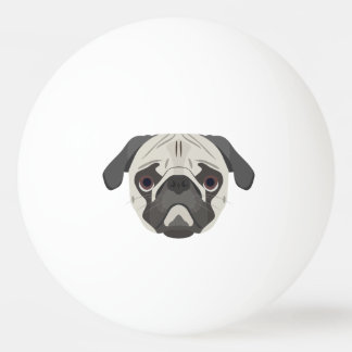 Bola De Ping Pong A ilustração persegue o Pug da cara