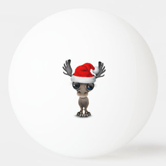 Bola De Ping-pong Alces do bebê que vestem um chapéu do papai noel