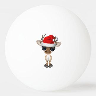 Bola De Ping Pong Cervos do bebê que vestem um chapéu do papai noel