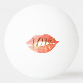 Bola De Ping Pong Cora o beijo cor-de-rosa da aguarela do ouro XOXO