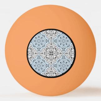 Bola De Ping-pong Flourish Rococo azul do teste padrão