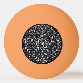 Bola De Ping Pong Flourish Rococo preto do teste padrão
