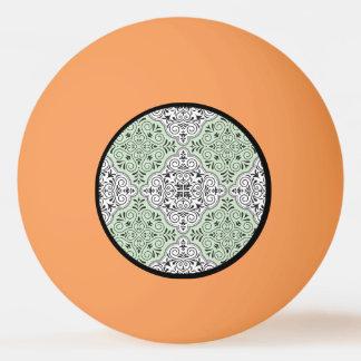Bola De Ping Pong Flourish Rococo verde do teste padrão