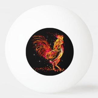Bola De Ping-pong Galo do fogo. Design legal da faísca animal