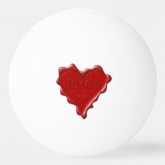 Bola De Ping-pong Justin. Selo vermelho da cera do coração com