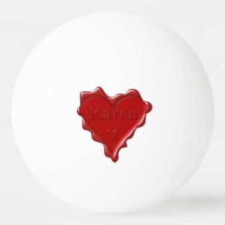 Bola De Ping-pong Karen. Selo vermelho da cera do coração com Karen