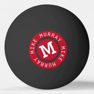 Bola De Ping Pong monograma vermelho do círculo no preto