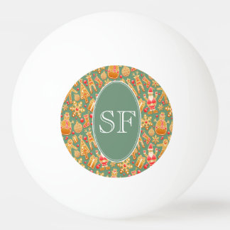 Bola De Ping Pong Papai noel e monograma festivos do pão-de-espécie