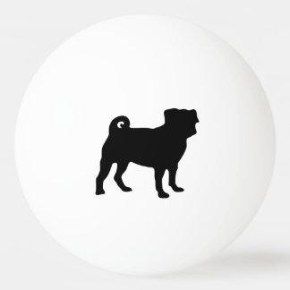 Bola De Ping Pong Silhueta preta do Pug - design simples do vetor