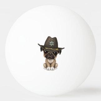 Bola De Ping-pong Xerife bonito do cão de filhote de cachorro do Pug