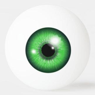 Bola de ténis de mesa engraçada da íris verde