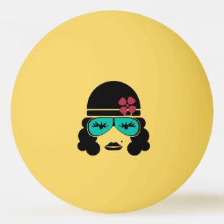 Bola de ténis de mesa retro da silhueta do vintage