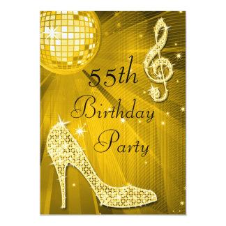 Bola do disco do ouro e aniversário dos saltos convites personalizados