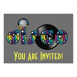 Bola do disco e registro de vinil espelhados dança convite 12.7 x 17.78cm