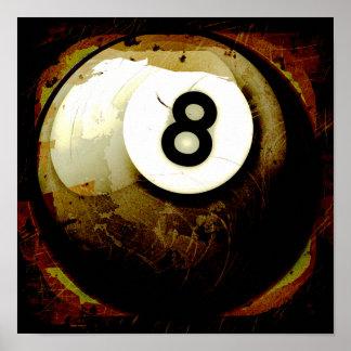 Bola do estilo 8 do Grunge Impressão