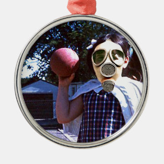 Bola do vermelho da máscara de gás ornamento redondo cor prata