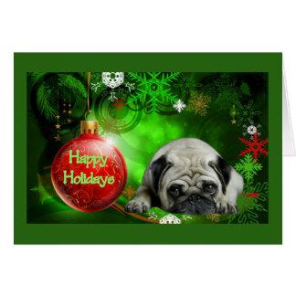 Bola do vermelho do cartão de Natal do Pug