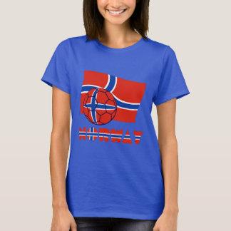 Bola e bandeira norueguesas de futebol camiseta
