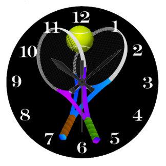 Bola e raquetes de tênis relógio grande