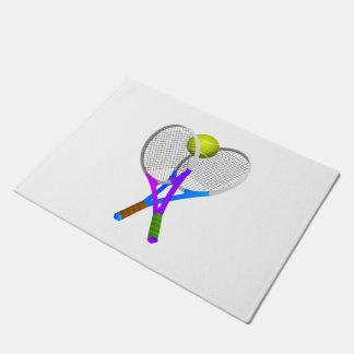 Bola e raquetes de tênis tapete