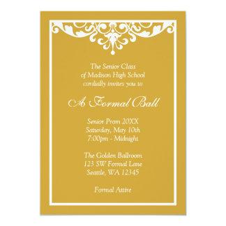 Bola formal da dança do ouro e do baile de convite 12.7 x 17.78cm