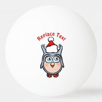 Bola Para Ping-pong Coruja bonito do bebê com chapéu de Papai Noel