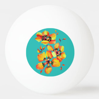 Bola Para Ping-pong Flores alaranjadas elegantes - Aqua