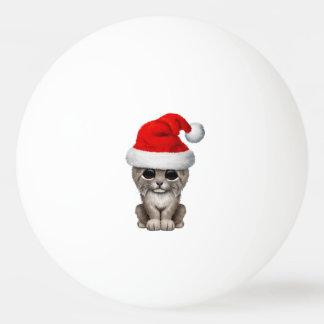Bola Para Ping Pong Lince bonito Cub que veste um chapéu do papai noel