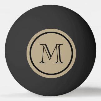 Bola Para Ping-pong Monograma do costume do preto da cor sólida de