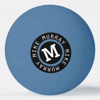 Bola Para Ping Pong monograma no azul