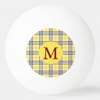 Bola Para Ping-pong Monograma vermelho, cinzento e amarelo da xadrez