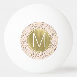 Bola Para Ping Pong O rosa cora o monograma animal do impressão do