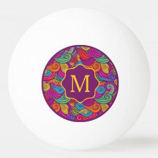 Bola Para Ping Pong Teste padrão de onda colorido retro de Swirly do