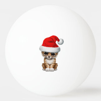 Bola Para Ping-pong Tigre Cub bonito que veste um chapéu do papai noel