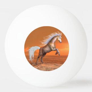 Bola Para Tênis De Mesa Cavalo que eleva pelo por do sol - 3D rendem