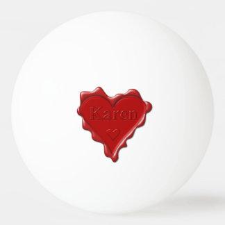 Bola Para Tênis De Mesa Karen. Selo vermelho da cera do coração com Karen