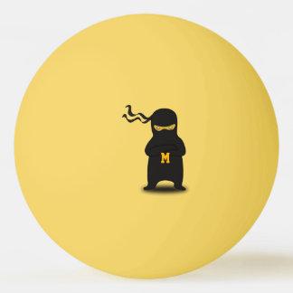 Bola Para Tênis De Mesa Monograma. Kawaii Ninja bonito para o Geek. do